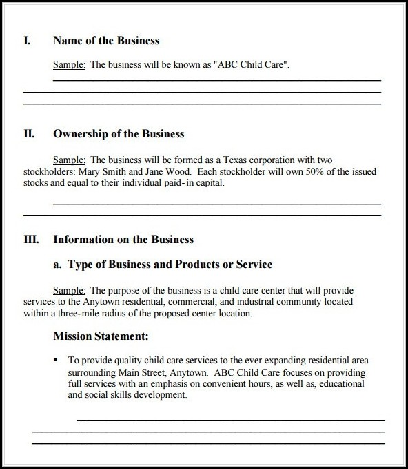 Easy Simple Business Plan Template Word