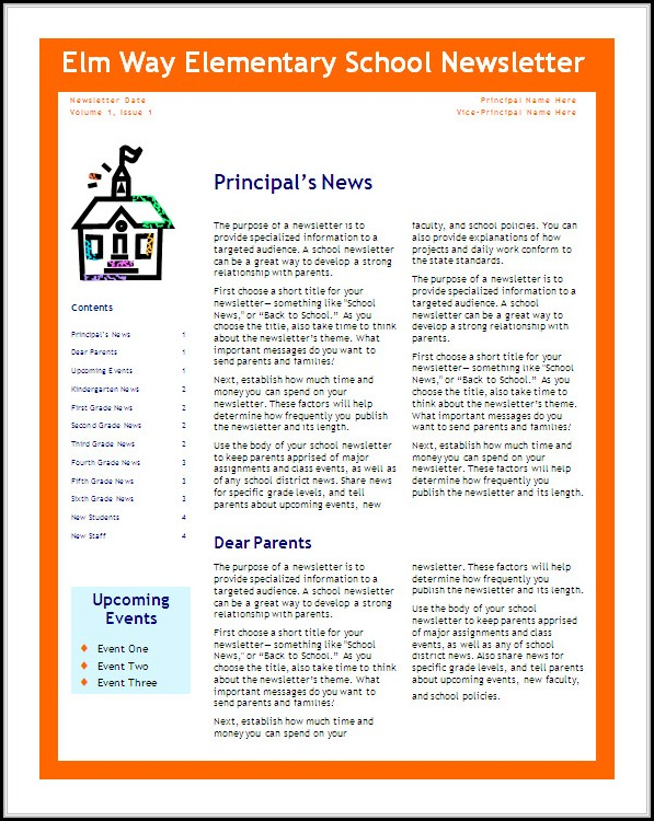 school newsletter templates free