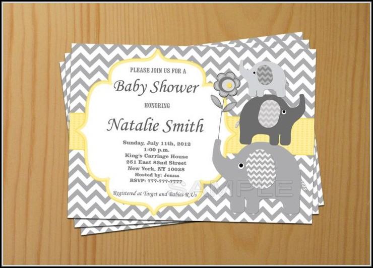 Elephant Baby Shower Invite Template