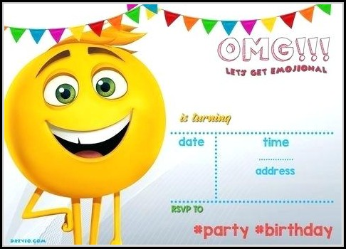 Emoji Birthday Party Invitation Template Free