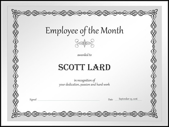 Employee Of The Month Certificate Template Free