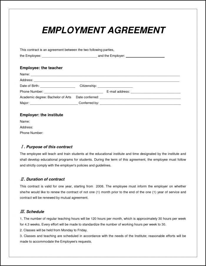 Free Employment Contract Template Word Template 1 Resume