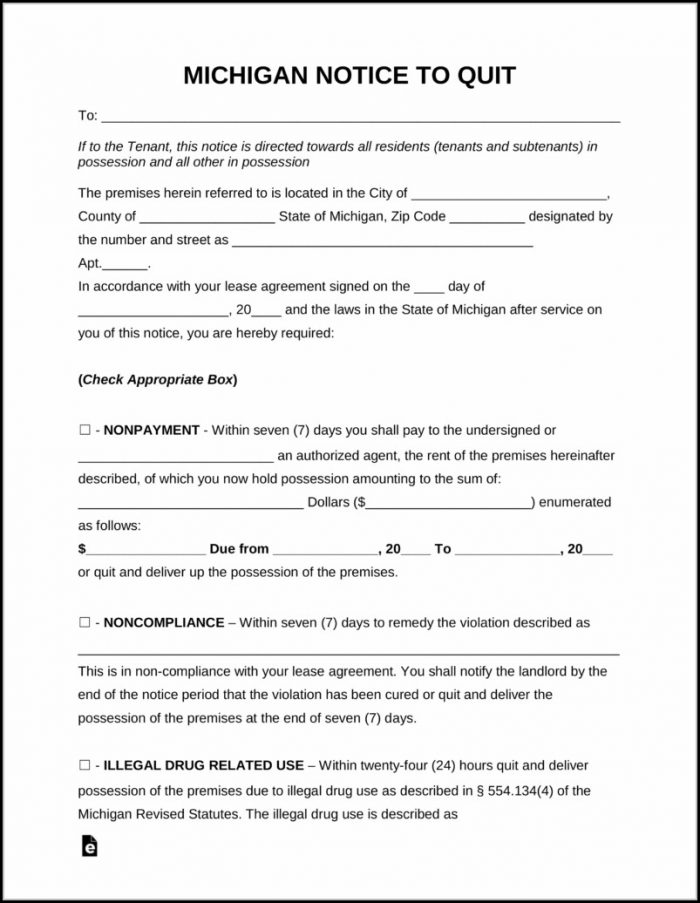 Eviction Notice Forms Michigan