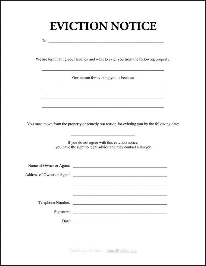 Eviction Notice Forms To Print Out