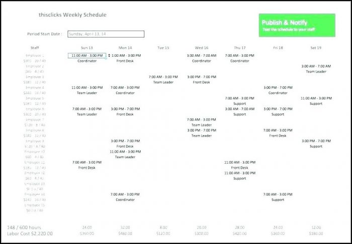 Excel Employee Schedule Template Monthly