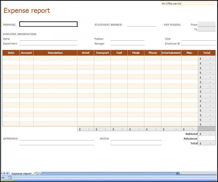 Expense Report Spreadsheet Template Free