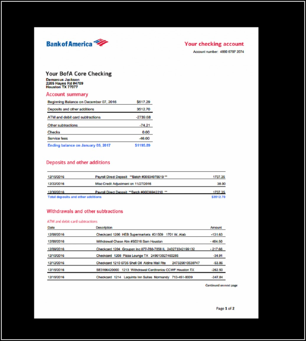 Fake Bank Of America Statement Template