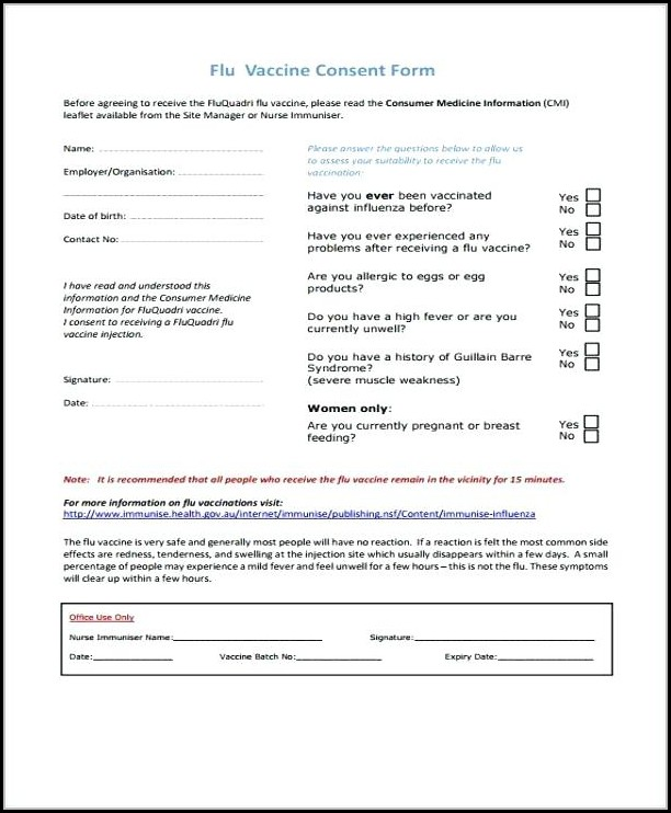 Flu Vaccine Consent Forms
