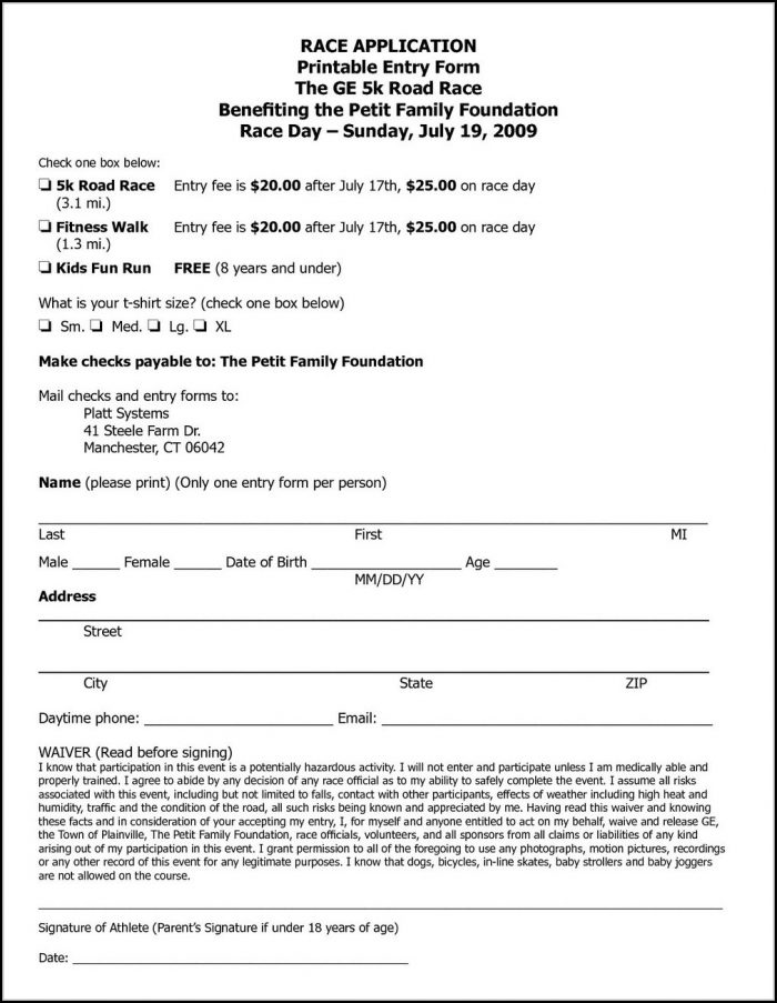 Free 5k Registration Form Template