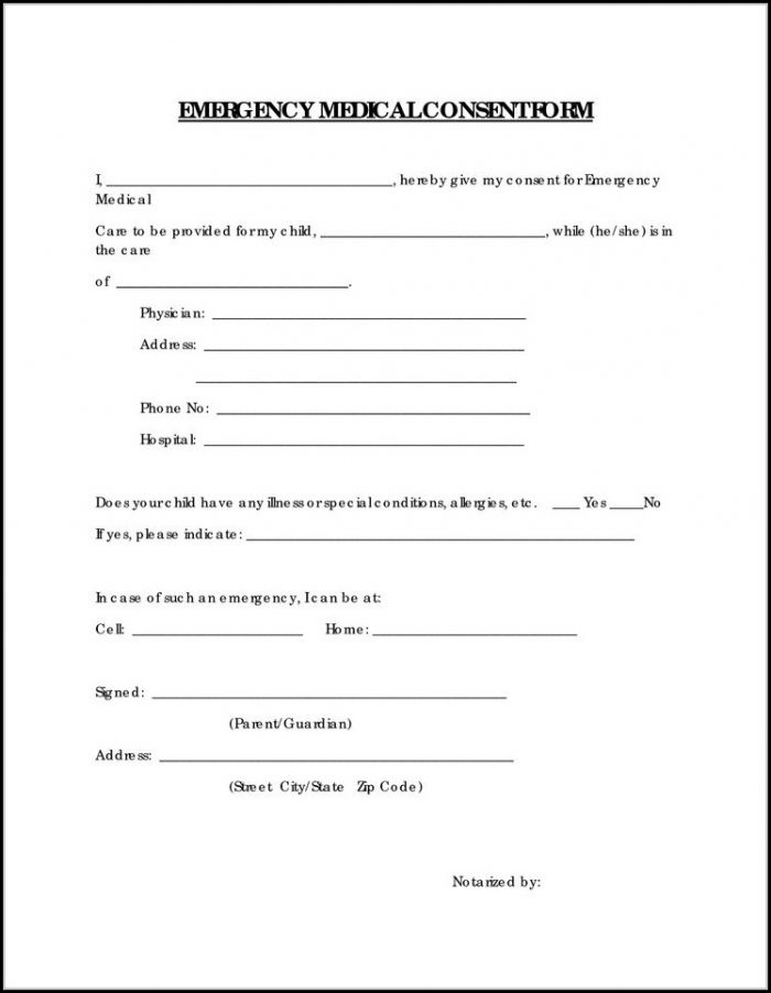 Free Child Medical Consent Form For Grandparents