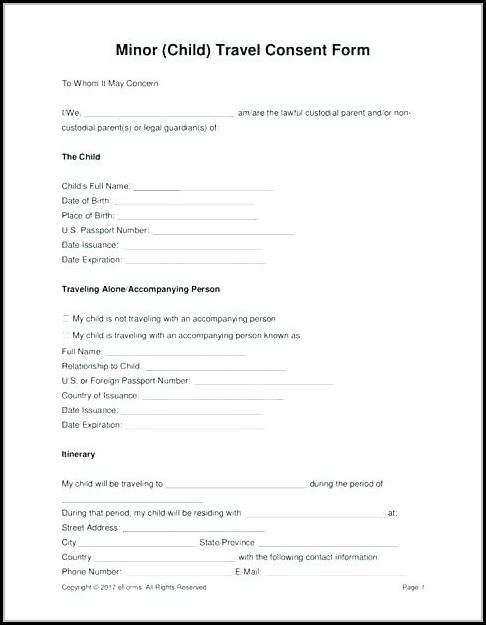 Free Child Travel Consent Form Template Pdf