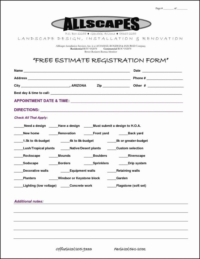Free Printable Estimate Forms Templates Form Resume