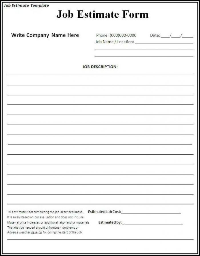 Free Printable Estimate Forms Contractors