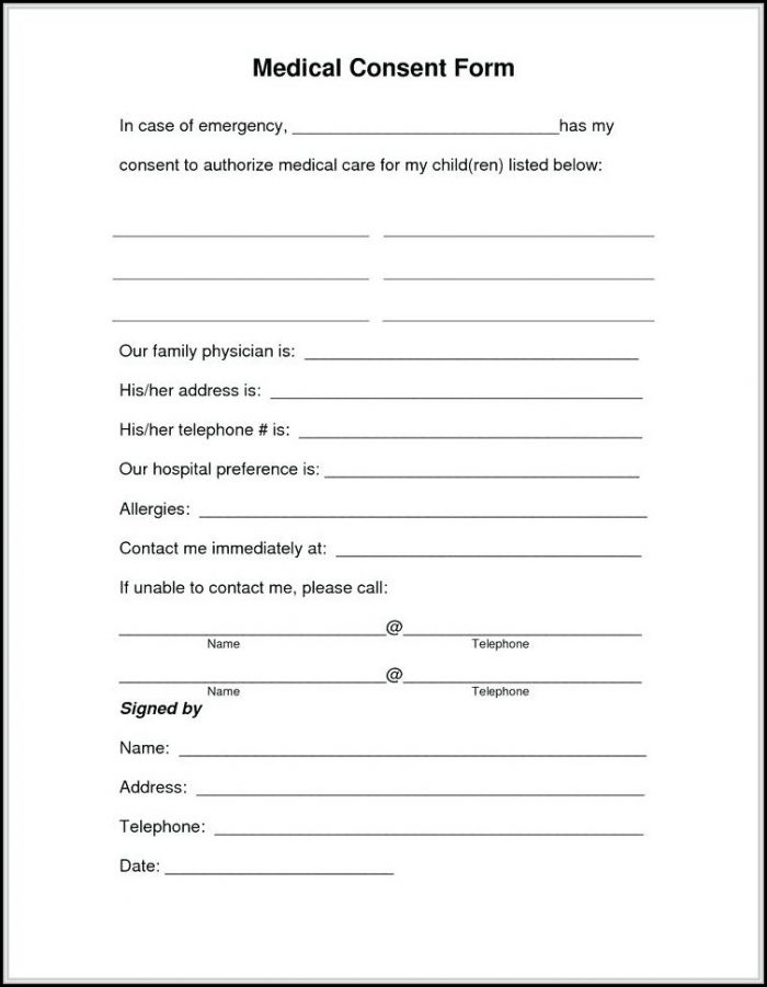 Free Printable Medical Release Form For Grandparents