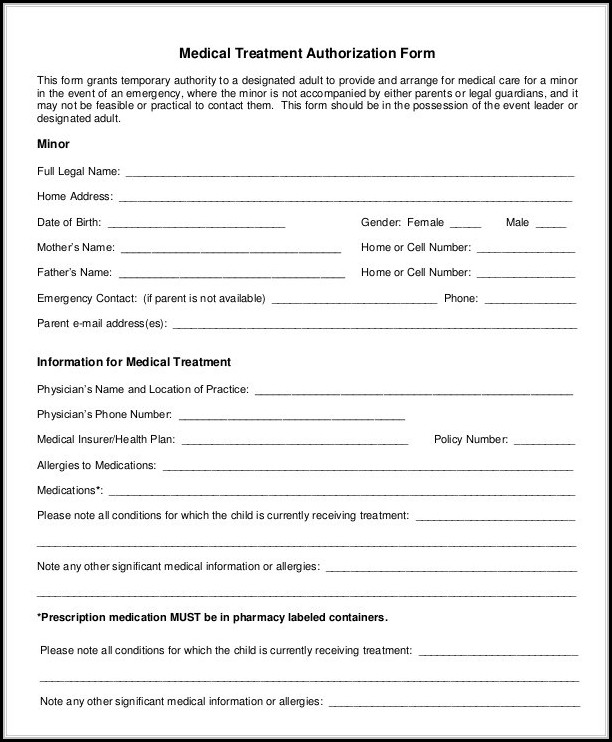 Free Printable Medical Release Form