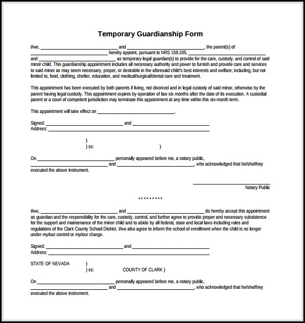 Free Printable Temporary Guardianship Form Download