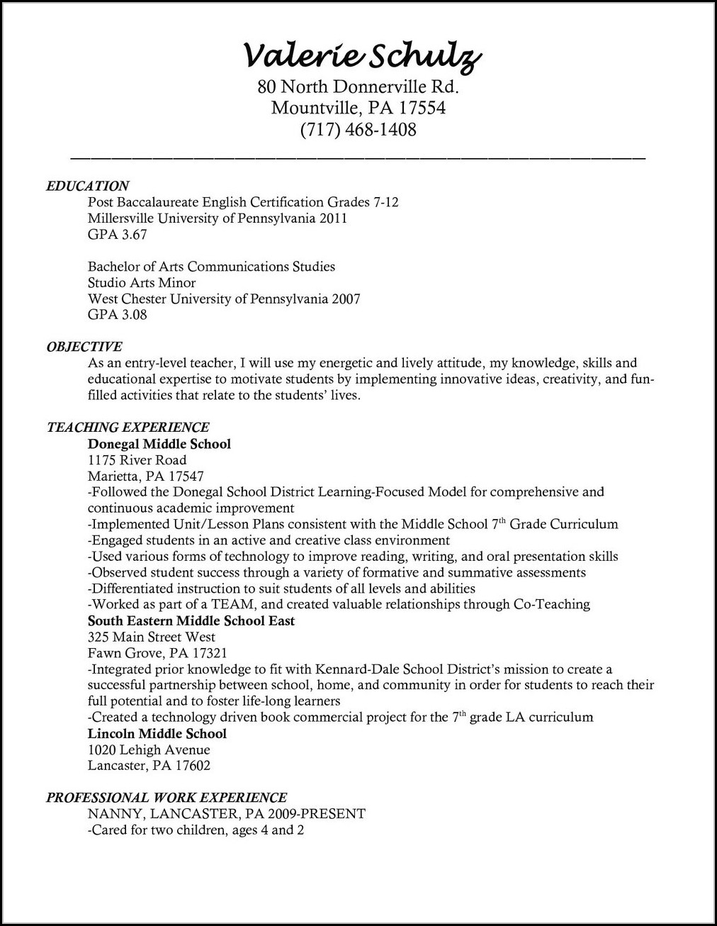 teacher resume template microsoft word