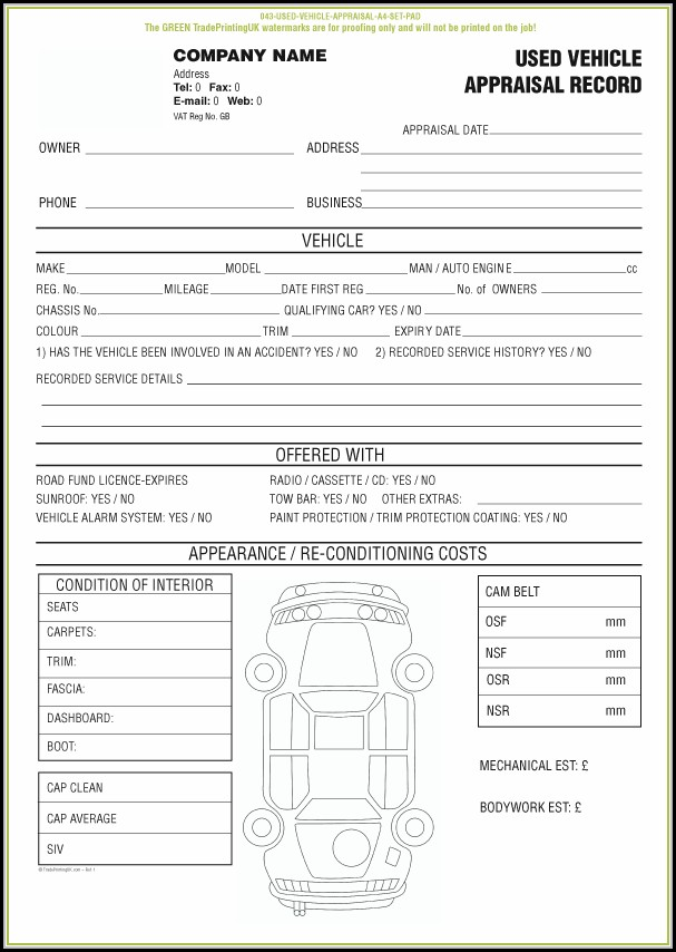Free Vehicle Appraisal Form Templates