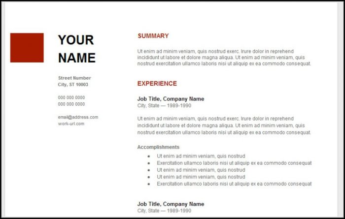 Google Resume Template Download