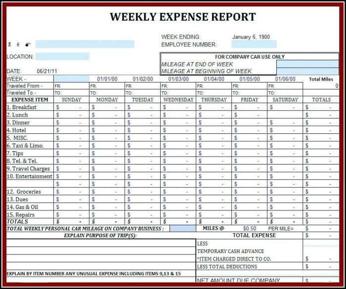 Income And Expense Report Excel Template