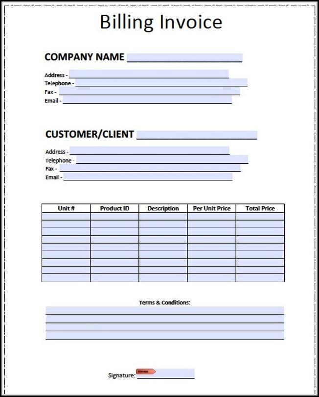 Invoice Template Docx India