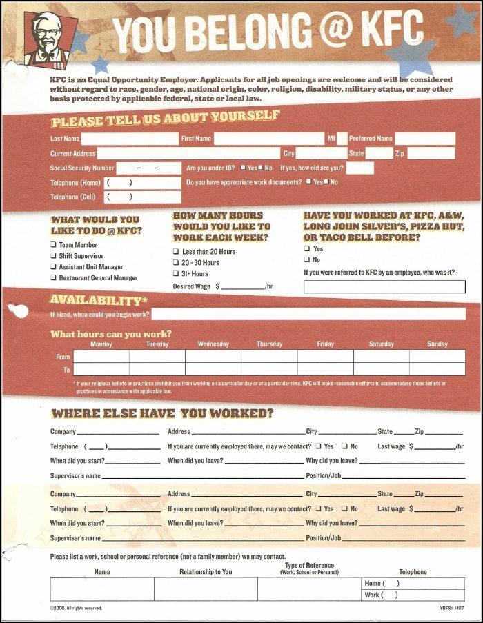 Job Application Form Kfc