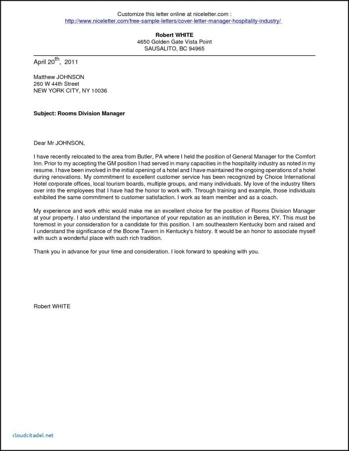 Job Application Letter For Hotel And Restaurant Management