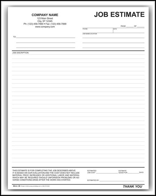 Job Estimate Forms To Print