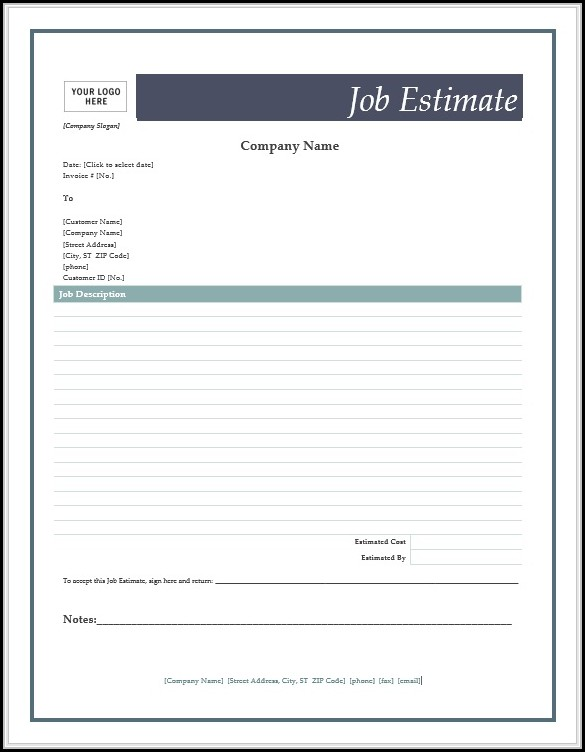 Job Estimate Forms