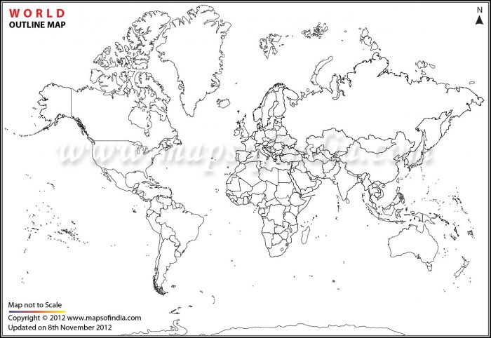 Large Printable World Map Outline
