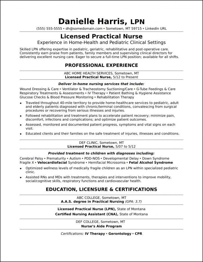 Licensed Practical Nurse Sample Resume
