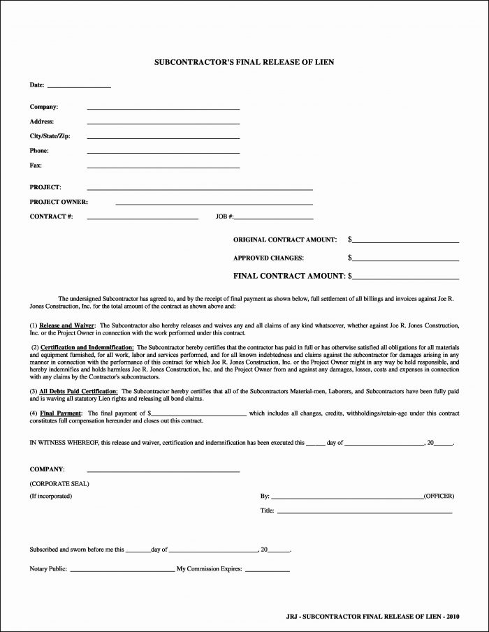 Lien Waiver Form Missouri