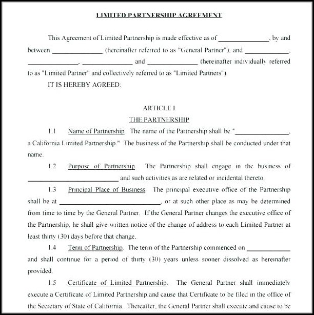 limited partnership agreement template california