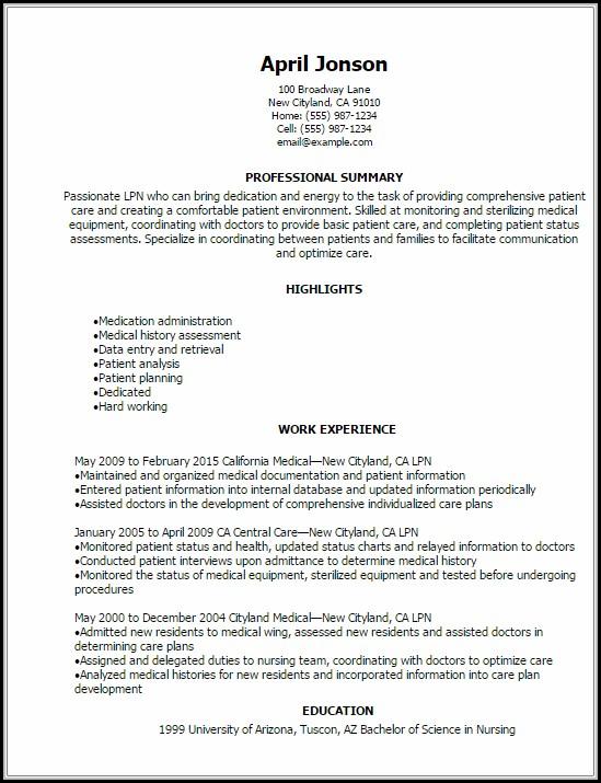 Lpn Resume Template