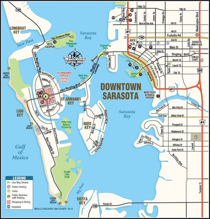 Map Of Downtown Sarasota Florida