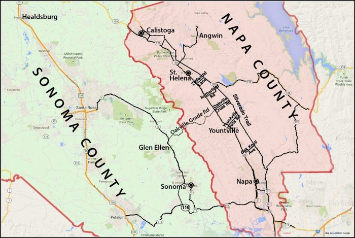 Map Of Napa Valley And Sonoma