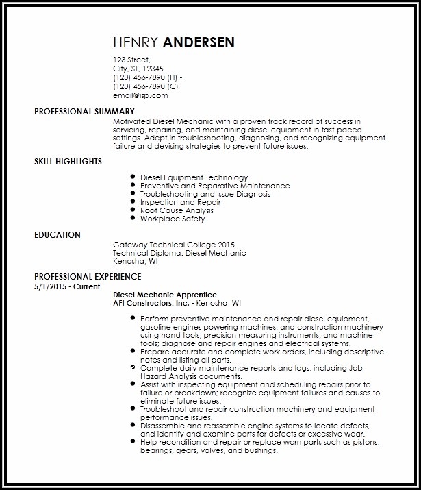 car mechanic cv template uk
