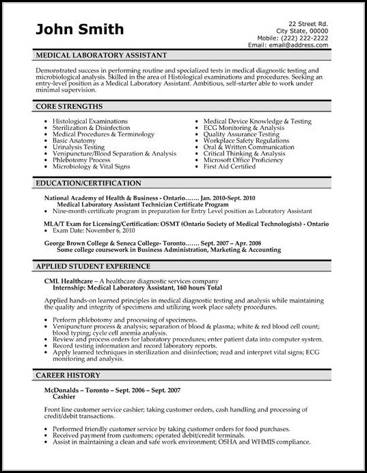 Medical Resume Template Free