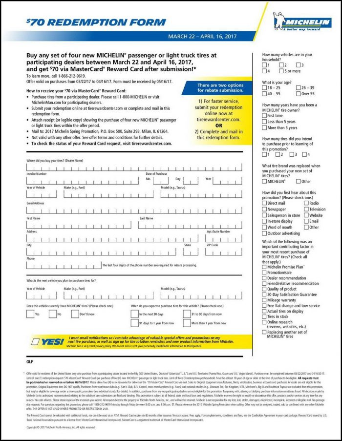 Michelin Rebate Form Pdf