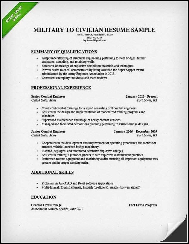 military resume writers free