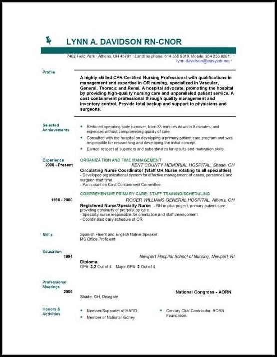 Nurse Resume Templates Free