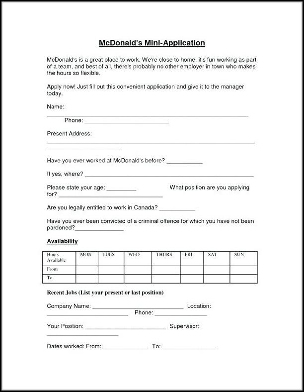 Online Job Application Mcdonalds