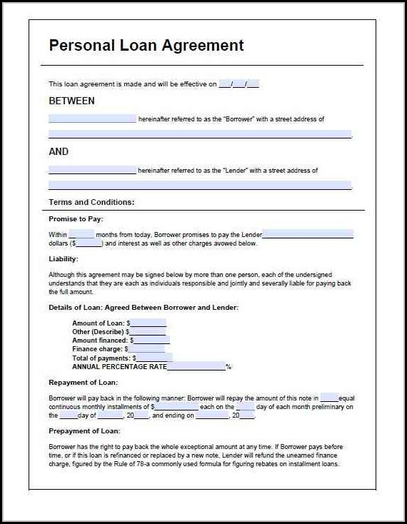 Parent Child Loan Agreement Template