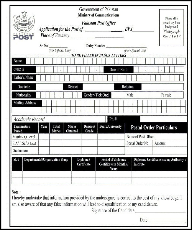 post office job application form pdf