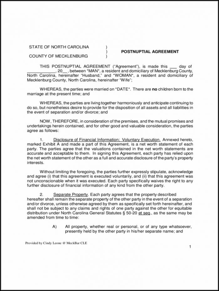 Postnuptial Agreement Form Pdf