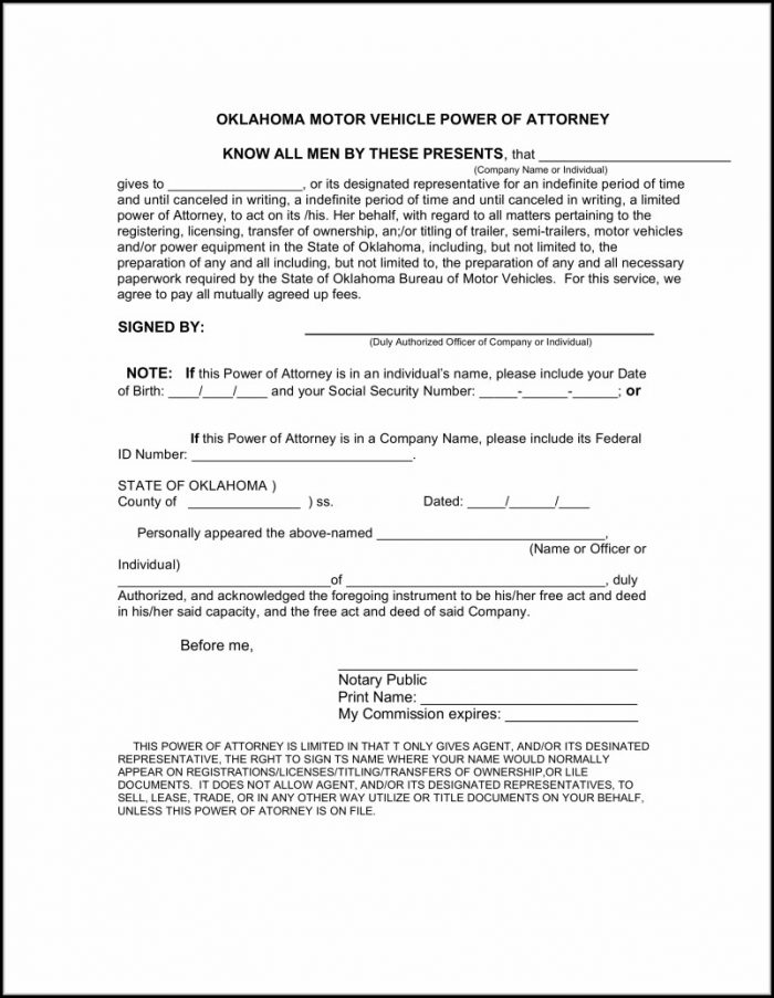 Power Of Attorney Form Oklahoma Pdf