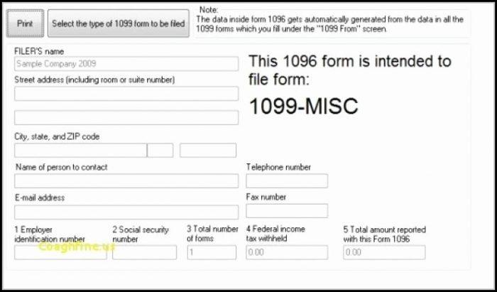 Printable 1096 Form 2016