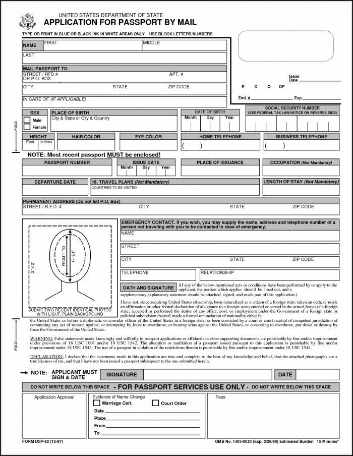 Printable Passport Renewal Form Canada