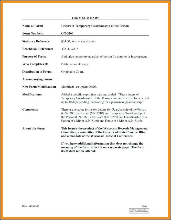 Printable Temporary Guardianship Form For Grandparents