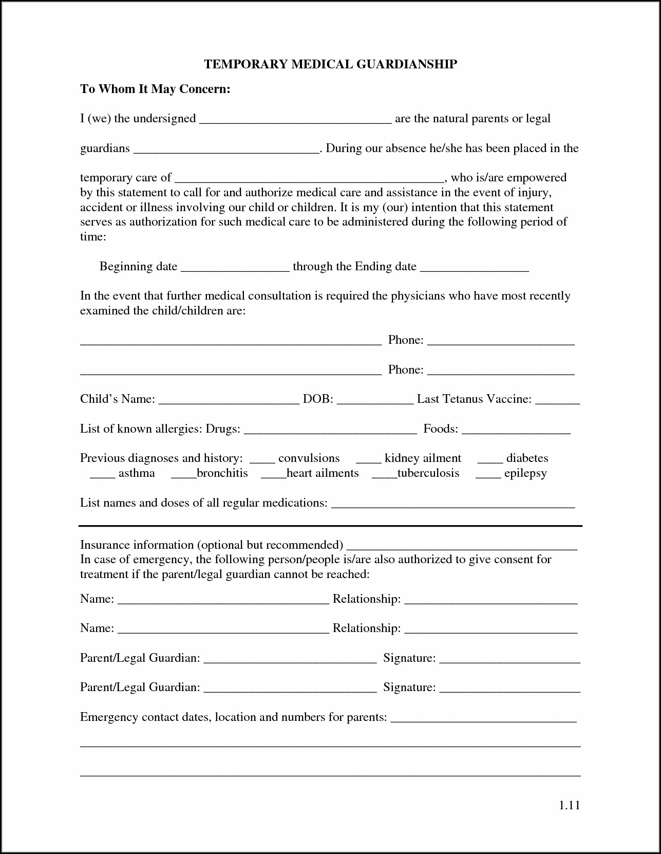 photograph about Printable Guardianship Forms named Printable Non permanent Guardianship Sorts - Variety : Resume